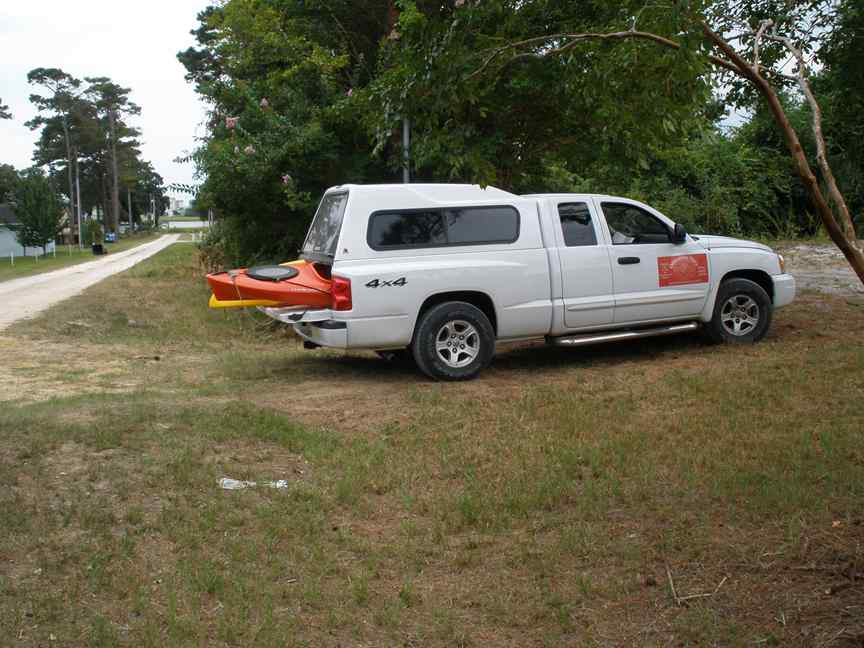 This picture shows my truck in the driveway in front of where the mobile home was.