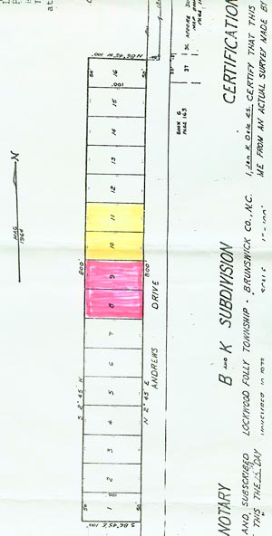 This map shows the B&K subdivision on Andrews Drive.
